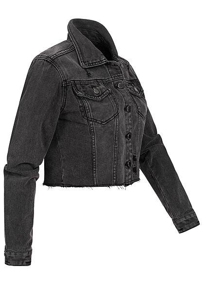 Hailys Damen kurze Cropped Jeans Jacke Destroy Optik 2 Brusttaschen dunkel grau denim