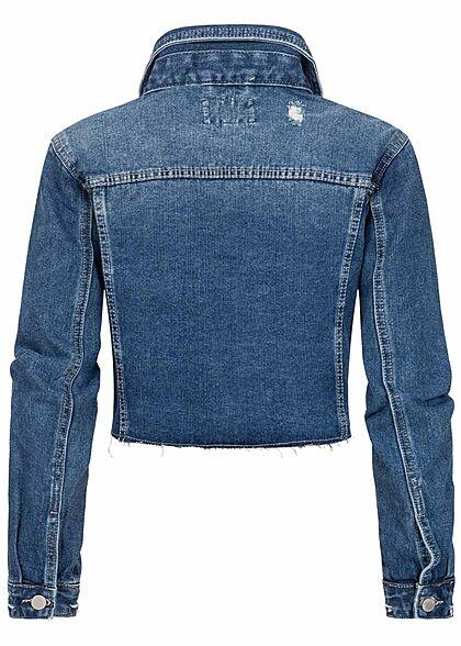 Hailys Damen kurze Cropped Jeans Jacke Destroy Optik 2 Brusttaschen medium blau denim