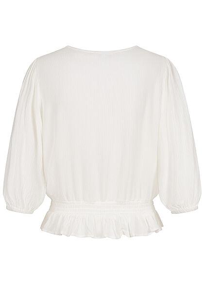 Hailys Damen 3/4-Arm V-Neck Blusen Shirt Häkelbesatz Raffungen off weiss