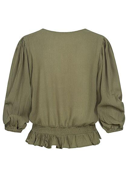 Hailys Damen 3/4-Arm V-Neck Blusen Shirt Häkelbesatz Raffungen khaki grün