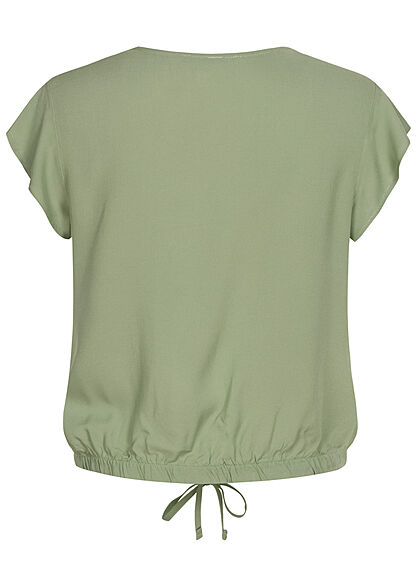 Hailys Damen V-Neck Blusen Shirt Frill Ärmel Bindedetail hedge grün