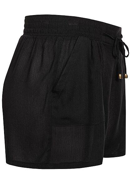 Hailys Damen kurze Krepp Shorts Tunnelzug 2-Pockets schwarz