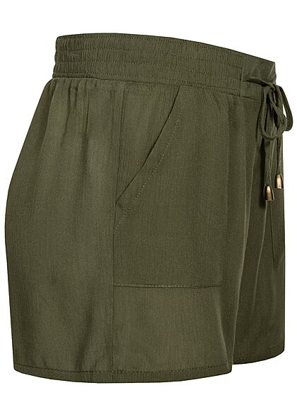 Hailys Damen kurze Krepp Shorts Tunnelzug 2-Pockets khaki grün