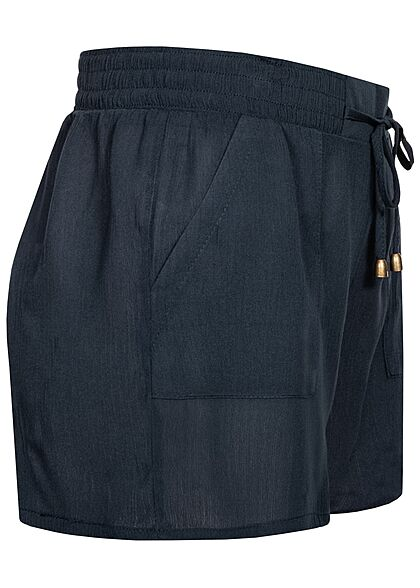 Hailys Damen kurze Krepp Shorts Tunnelzug 2-Pockets navy blau