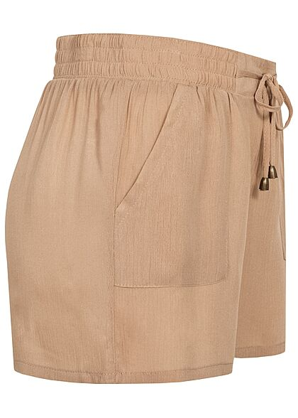 Hailys Damen kurze Krepp Shorts Tunnelzug 2-Pockets beige