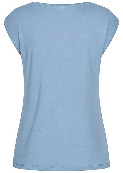 Hailys Damen V-Neck T-Shirt blau
