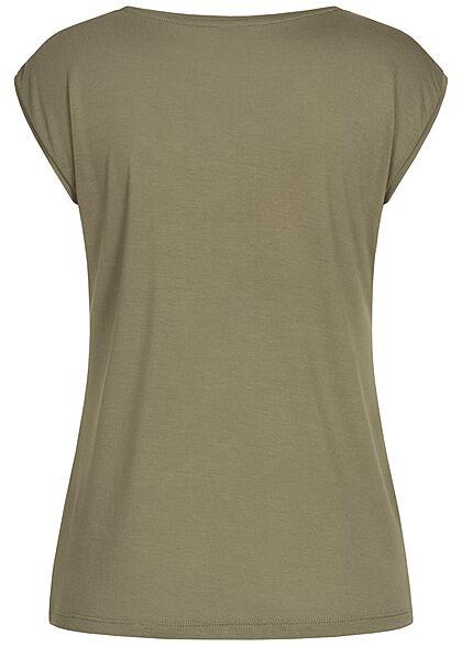 Hailys Damen V-Neck T-Shirt khaki grün