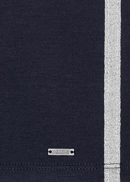 Zabaione Damen Mini Sweat Rock mit Glitzer Streifen 2-Pockets navy blau silber
