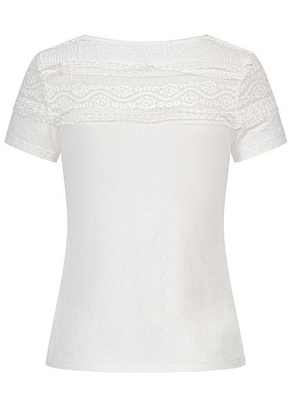 Hailys Damen T-Shirt mit Spitzenbesatz oben off weiss