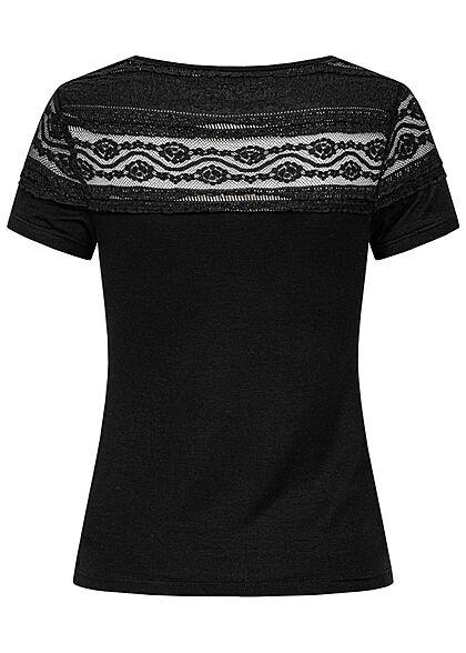 Hailys Damen T-Shirt mit Spitzenbesatz oben schwarz
