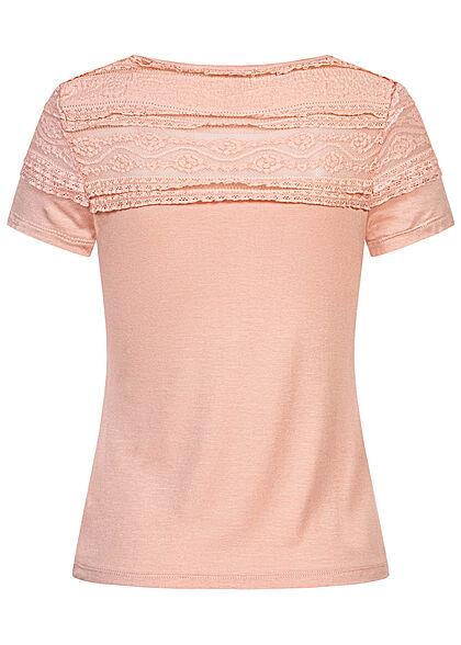 Hailys Damen T-Shirt mit Spitzenbesatz oben rosa