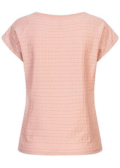 Hailys Damen T-Shirt Struktur Streifen Muster rosa