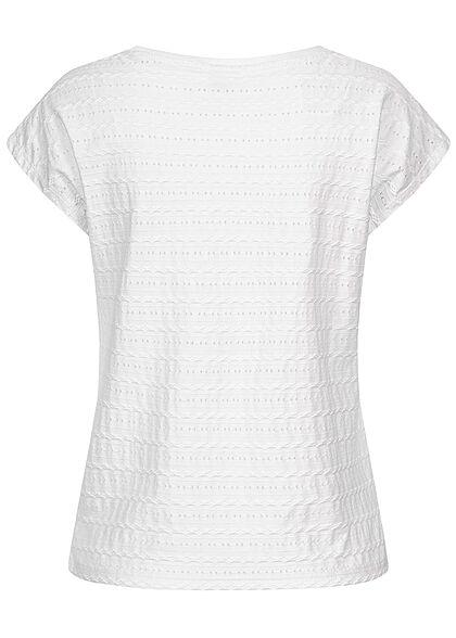 Hailys Damen T-Shirt Struktur Streifen Muster weiss