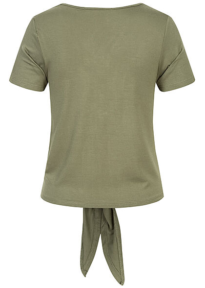 Hailys Damen V-Neck T-Shirt Deko Knopfleiste Bindedetail khaki grün
