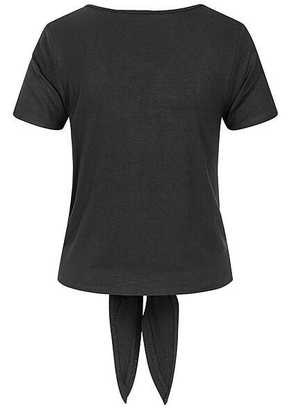 Hailys Damen V-Neck T-Shirt Deko Knopfleiste Bindedetail schwarz