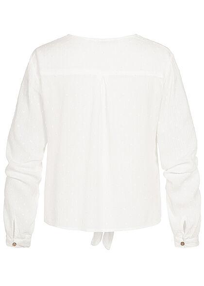 Hailys Damen V-Neck Langarm Blusen Shirt Knopfleiste Bindedetail vorne off weiss