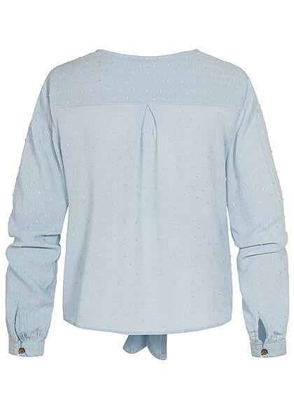 Hailys Damen V-Neck Langarm Blusen Shirt Knopfleiste Bindedetail vorne hell blau