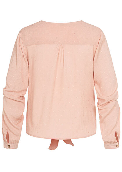 Hailys Damen V-Neck Langarm Blusen Shirt Knopfleiste Bindedetail vorne rosa