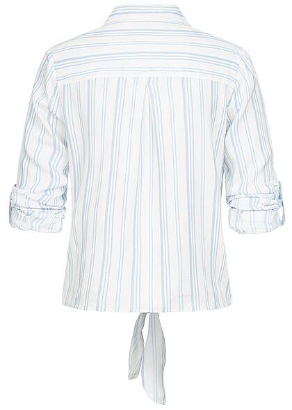 Hailys Damen Turn-Up Blusen Shirt Knopfleiste Bindedetail vorne Streifen Muster blau