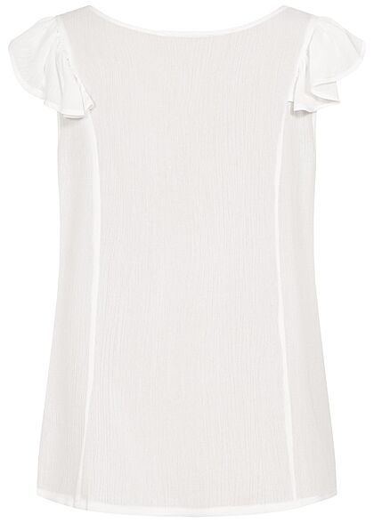 Hailys Damen V-Neck Blusen Shirt Knopfleiste Frill Ärmel Spitzendetails off weiss