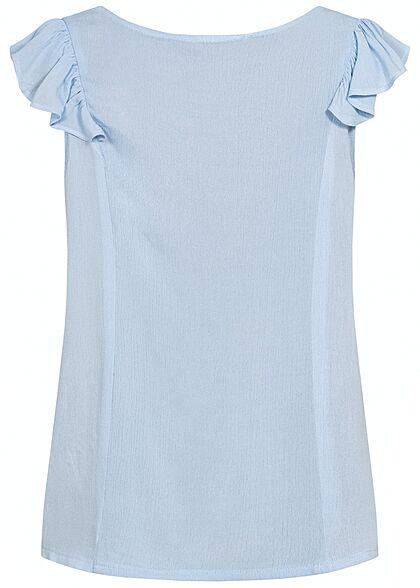 Hailys Damen V-Neck Blusen Shirt Knopfleiste Frill Ärmel Spitzendetails hell blau