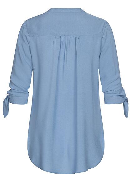 Hailys Damen 3/4-Arm V-Neck Blusen Shirt Schleifen am Ärmel blau