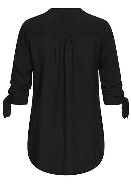 Hailys Damen 3/4-Arm V-Neck Blusen Shirt Schleifen am Ärmel schwarz