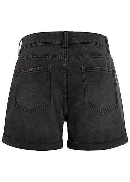 Hailys Damen kurze Mom-Fit Jeans Shorts Destroyed Look 5-Pockets black denim