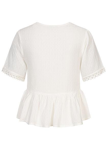 Hailys Damen V-Neck Blusen Shirt Spitzendetails off weiss