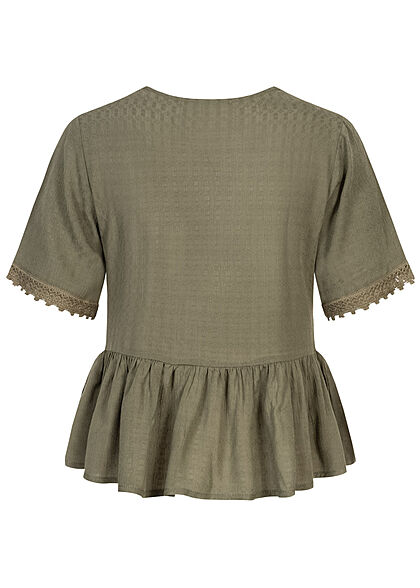 Hailys Damen V-Neck Blusen Shirt Spitzendetails khaki grün