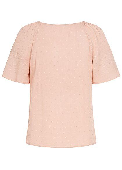 Hailys Damen V-Neck Blusen Shirt Knopfleiste Wellen Ärmel rosa