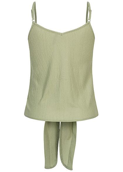 Hailys Damen Krepp Top Knopfleiste Bindedetail vorne soft grün