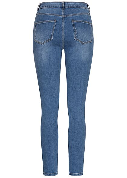 Hailys Damen High-Waist Skinny Jeans Hose Destroy Look 5-Pockets medium blau denim