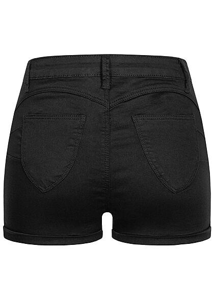 Hailys Damen High-Waist Push-Up Jeans Shorts 4-Pockets schwarz