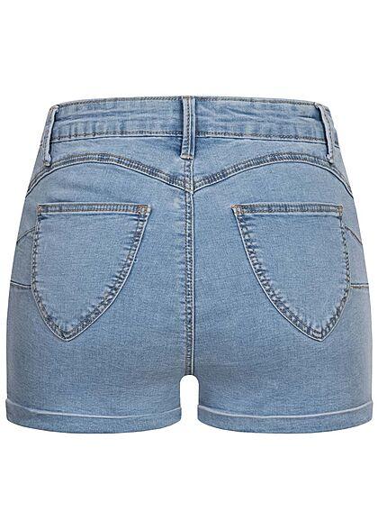 Hailys Damen High-Waist Push-Up Jeans Shorts 4-Pockets hell blau