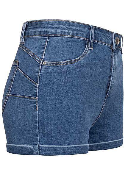 Hailys Damen High-Waist Push-Up Jeans Shorts 4-Pockets blau denim