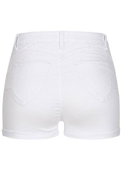 Hailys Damen High-Waist Push-Up Jeans Shorts 4-Pockets weiss