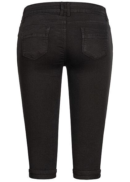 Hailys Damen Capri Jeans Hose Shorts 5-Pockets Beinumschlag schwarz denim