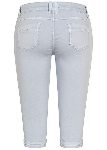 Hailys Damen Capri Jeans Hose Shorts 5-Pockets Beinumschlag hell blau denim