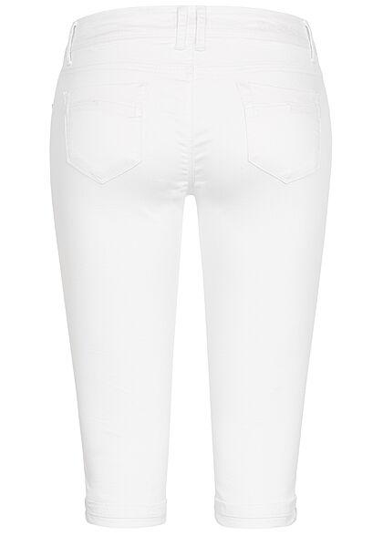 Hailys Damen Capri Jeans Hose Shorts 5-Pockets Beinumschlag weiss denim