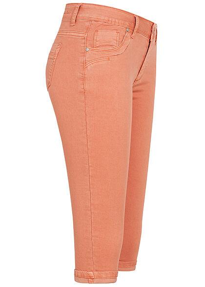 Hailys Damen Capri Jeans Hose Shorts 5-Pockets Beinumschlag coral orange