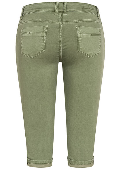 Hailys Damen Capri Jeans Hose Shorts 5-Pockets Beinumschlag hedge grün