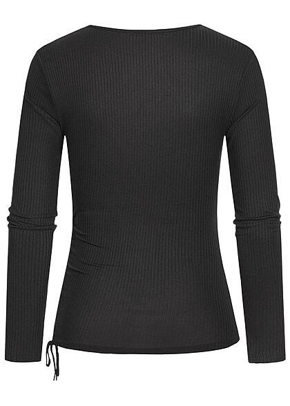 Hailys Damen Ribbed V-Neck Longsleeve mit Raffdetail seitlich schwarz