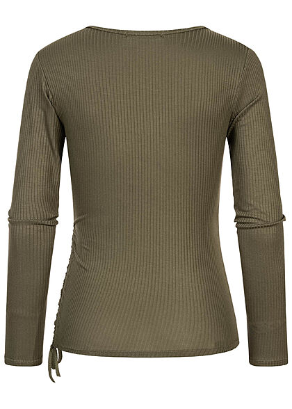 Hailys Damen Ribbed V-Neck Longsleeve mit Raffdetail seitlich khaki grün