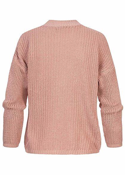 Hailys Damen V-Neck Cardigan Strickjacke Knopfleiste blush rosa