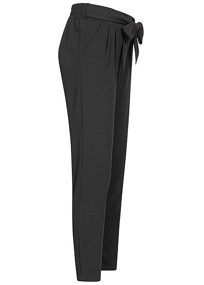 Hailys Damen Stoffhose Mid-Waist Bindedetail vorne schwarz