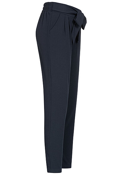 Hailys Damen Stoffhose Mid-Waist Bindedetail vorne navy blau