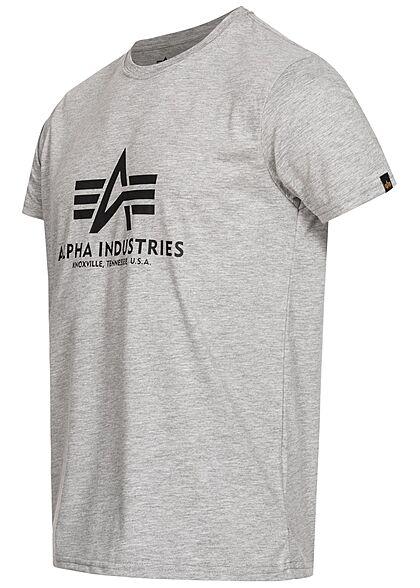 Alpha Industries Herren Basic T-Shirt mit Logo Print grau melange schwarz