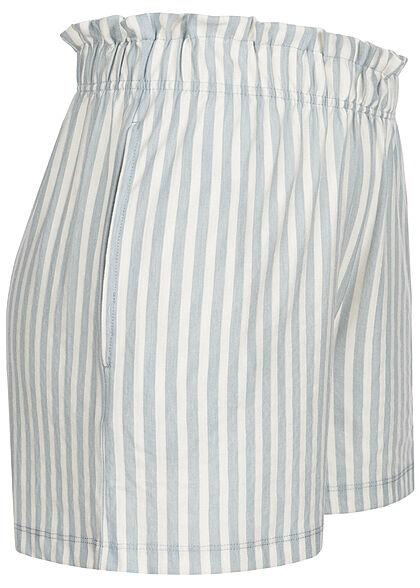 ONLY Damen kurze Shorts Gummibund Streifen Muster faded denim blau weiss