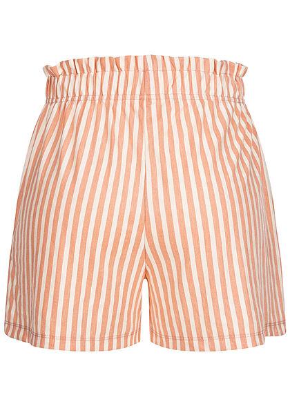 ONLY Damen kurze Shorts Gummibund Streifen Muster peach melba orange weiss